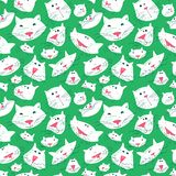 Cute cats seamless pattern. Background with pets in doodle style. Vector illustration with funny kitten in white and green colors royalty free illustration