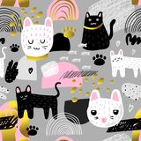 Cute Cats Seamless Pattern. Childish Background with Kitten and Abstract Elements. Baby Design for Fabric, Textile. Cute Cats Seamless Pattern. Childish vector illustration