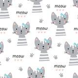 Cute cats seamless pattern Stock Photography