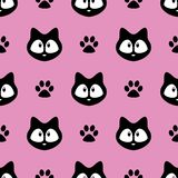 Cute cats seamless pattern, little kittens, texture for wallpapers, fabric, wrap, web page backgrounds, vector illustration. Design royalty free illustration