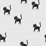 Cute Cats Seamless Pattern. Pets Retro Background. Vector Illustration Stock Photo