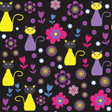 Cute cats seamless pattern. Seamless pattern can b. E used for wallpapers,   tableware, packaging, posters, and other purposes. Cute vector  illustration Stock Photo