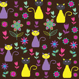 Cute cats seamless pattern. Seamless pattern can b. E used for wallpapers,   tableware, packaging, posters, and other purposes. Cute vector   illustration Royalty Free Stock Image