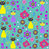 Cute cats vector seamless pattern and seamless pat Royalty Free Stock Photography