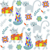 Cute cats seamless pattern and seamless pattern in swatch menu, Royalty Free Stock Images
