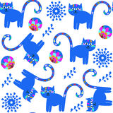 Cute cats  seamless pattern and seamless pattern in swatch menu, Royalty Free Stock Photography