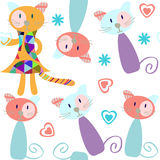 Cute cats  seamless pattern and seamless pattern in swatch menu,  picture Royalty Free Stock Photography