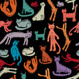 Cute cats, seamless pattern. Sketch for your design Royalty Free Stock Photo