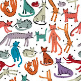 Cute cats, seamless pattern. Sketch for your design Royalty Free Stock Photography