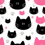 Cute cats seamless pattern, sweet kitty, texture for wallpapers, fabric, wrap, web page backgrounds, vector illustration. Design vector illustration