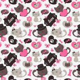 Cute cats seamless pattern, sweet kitty, texture for wallpapers, fabric, wrap, web page backgrounds, vector illustration. Design stock illustration