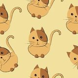 Cute cats seamless pattern vector illustration in brown shades stock illustration
