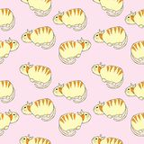 Cute cats seamless pattern illustration. On pink background, hand drawn style image stock illustration