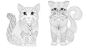 Cute cats set for coloring pages and print design. Vector illustration stock illustration
