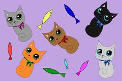 Cute cats set stock illustration