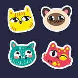 Cute cats set stickers on dark blue background Striped yellow pussy Siamese smiling kitty pink pussy blue kitty in. Speckles Vector isolated illustration hand Royalty Free Stock Images