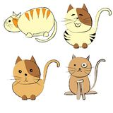 Cute cats set on white background stock illustration