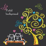 Cute cats sit on a bench under a tree with hearts. Stock Photography