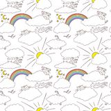 Cute cats in the sky happy childish seamless pattern design. Texture for wallpapers, fabric, wrap, web page backgrounds, vector. Illustration design royalty free illustration