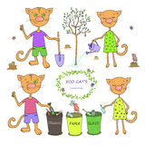 Cute cats sorting garbage and planting trees. Cute cats and birds sort garbage and planting trees. Caring for the environment ecology Royalty Free Stock Photos