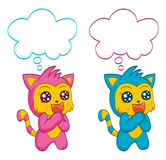 Cute cats with speech bubbles Stock Images