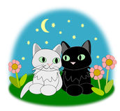 Cute Cats. Two cute cats sitting together and looking happy Stock Images