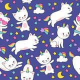 Cute cats unicorn vector seamless pattern for kids textile print. Illustration of kitten horned comic and colored star stock illustration