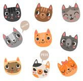 Cute 9 cats vector characters set. Lovely cats. Vector set of faces and emotions Royalty Free Stock Photos