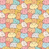 Cute Cats Vector Pattern Background. Fun Doodle. Handmade Vector Illustration stock illustration