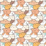 Cute Cats Vector Pattern Background. Fun Doodle. Handmade Vector Illustration vector illustration
