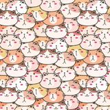 Cute Cats Vector Pattern Background. Fun Doodle. Handmade Vector Illustration royalty free illustration