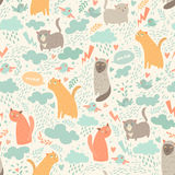 Cute cats vector seamless patter. N. With hearts, birds, leaf Stock Photos