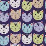 Cute Cats. vector seamless pattern with cartoon cat faces. fabric printing stickers. Trendy background. hand drawing. stock illustration