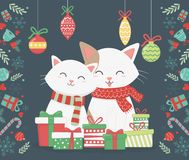 Cute Cats With Presents And Hanging Balls Celebration Merry Christmas Poster Stock Photo