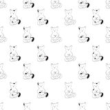 Cute cats in a yoga pose. Black and white seamless background Stock Photos