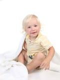 Cute Caucasian Baby Boy Sitting on White Stock Image