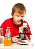 Cute Caucasian boy in lab Stock Photos