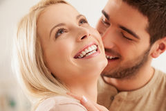 Cute Caucasian Couple Smiling Royalty Free Stock Image