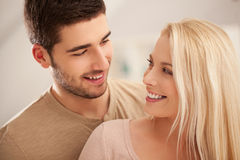 Cute Caucasian Couple Smiling Stock Photography
