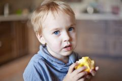 Cute caucasian little boy with blue eyes and blonde hair eats yellow apple, holding it on the hands. royalty free stock images