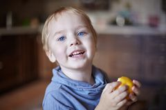 Cute caucasian little boy with blue eyes and blonde hair eats yellow apple, holding it on the hands, smiling. royalty free stock images