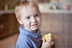 Cute caucasian little boy with blue eyes and blonde hair eats yellow apple, holding it on the hands, smiling. stock photo