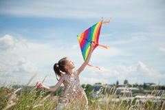 Happy little girl with long hair holding kite in the field on summer sunny day royalty free stock images