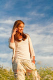 Cute Caucasian Model. Cute caucasian young woman during the sunset royalty free stock photo