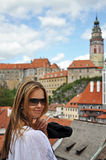 Cute Caucasian Model in Cesky Krumlov. Czech Republic royalty free stock image