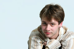 Cute caucasian teen boy with earring royalty free stock photos