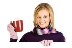 Winter: Woman Drinking Coffee To Keep Warm royalty free stock photos