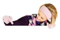 Winter: Woman Pointing Down to White Card royalty free stock images