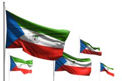 Nice five flags of Equatorial Guinea are waving isolated on white - photo with selective focus - any occasion flag 3d illustration. Cute celebration flag 3d stock illustration