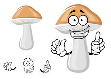 Cute cep mushroom with a happy smile Stock Image